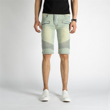 Männer Stretch <span class=keywords><strong>Moto</strong></span> Baumwolle Bleach Jeans Vintage <span class=keywords><strong>Shorts</strong></span>