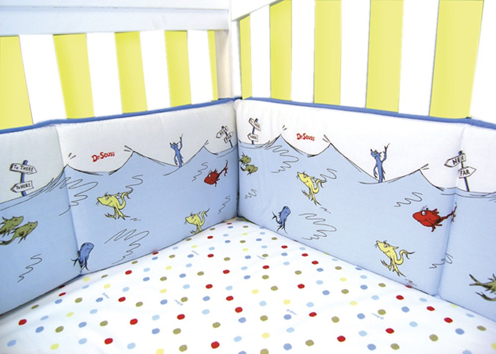 Trend Lab Infant Nursery Newborn Baby Bedding Comforter Dr. Seuss One Fish Two Fish Crib Bumpers