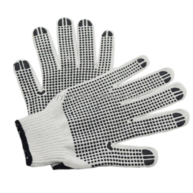 7 Gauge natural polycotton dots gloves/White safety cotton working gloves with china suppliers