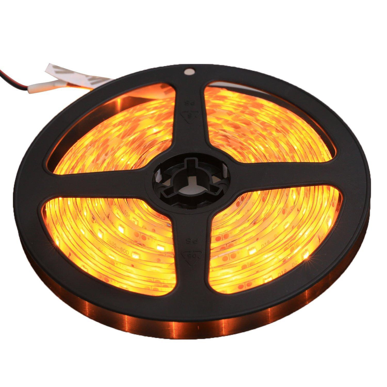 XKTTSUEERCRR Waterproof LED 3528 SMD 300LED 5M Flexible Light Strip 12V 2A 24W 60LED/M (Yellow)