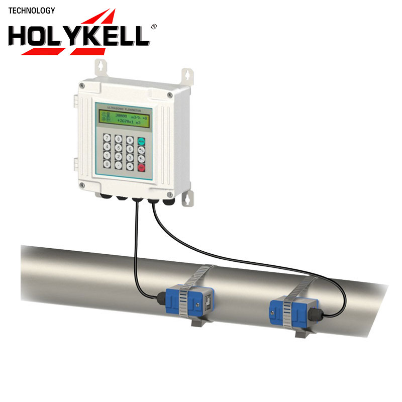 Holykell factory Made in China ultrasonic gas flow meter and clamp on flow meter