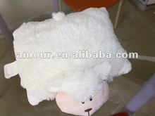2012 hot selling very soft cute sheep cushion animal folding pillow bedroom multi-use creative toy Christmas winter gift