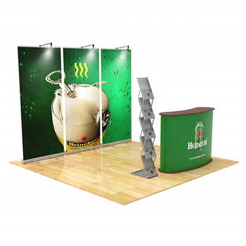 Budget cheap custom logo roll up banner portable display 3x3 size exhibition trade show booth 10x10