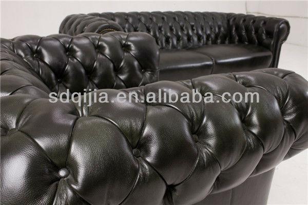 classico di lusso cinese chesterfield blu mobili soggiorno set ... - Bel Divano In Pelle Posteriore Con Sedili Imbottiti Armi