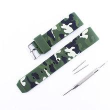 Аксессуары для часов, силиконовый ремешок 22 мм с пряжкой для камуфляжа, изогнутый интерфейс для мужчин и женщин, ремешок для часов для спорт...(Китай)