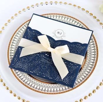 Navy Blue Wedding Invitation Card Laser Cut