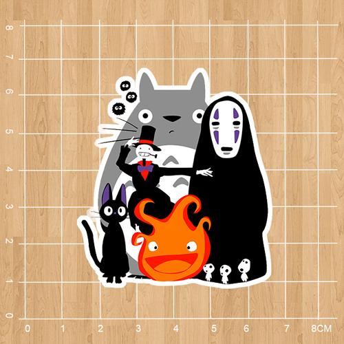 Japanese anime movies Spirited Away Notebook refrigerator skateboard trolley case backpack Tables book sticker PVC sticker