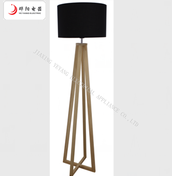 Wood Floor Lamp With Fabric Lampshade Tripod Wooden Base Shade Product On Alibaba