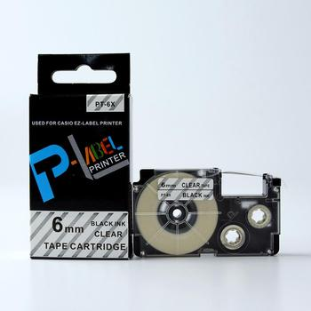 "PUTY Compatible XR-6X 1/4"" 6mm Black on Clear Cassette Ribbon Label Tape for EZ Label Printer"