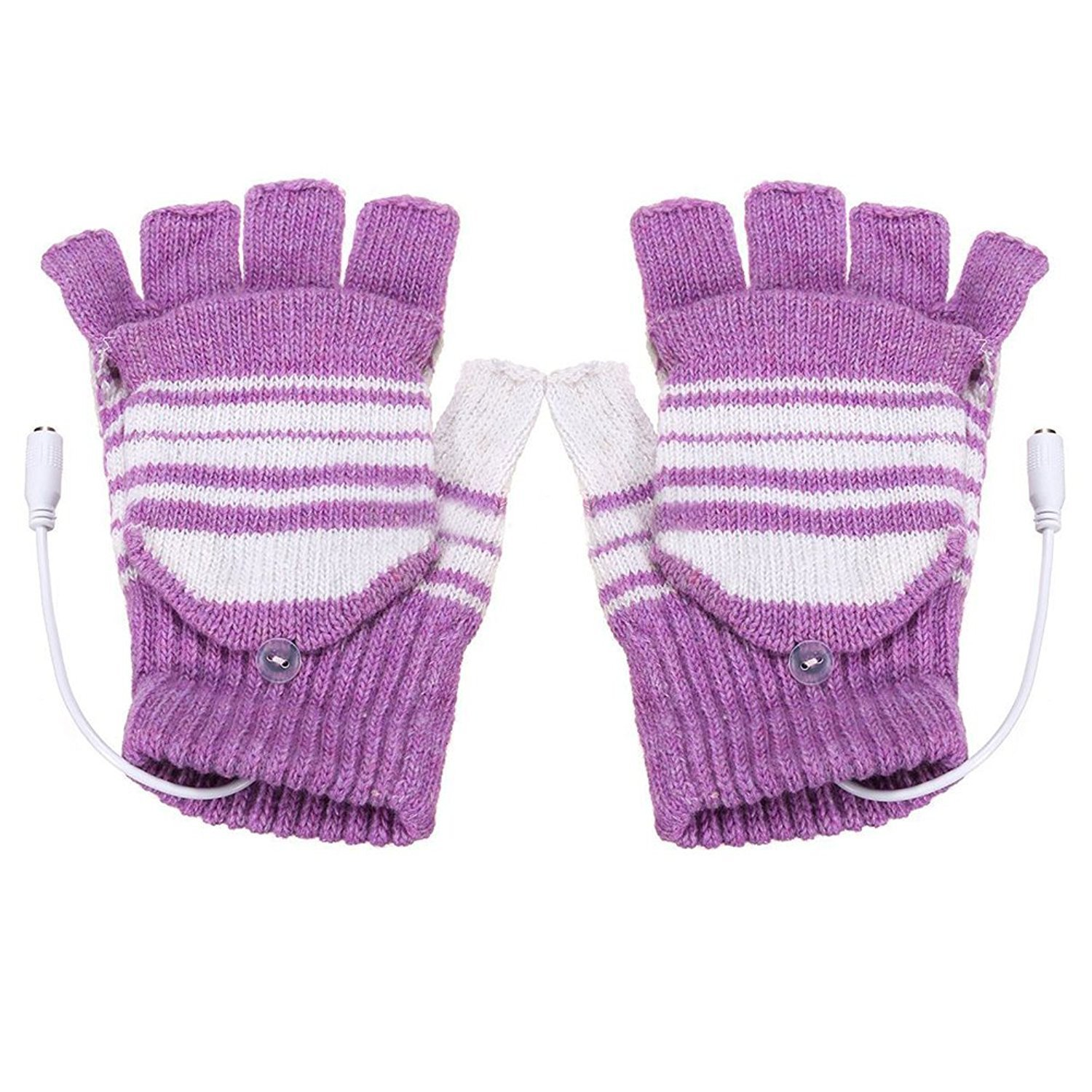 TOOGOO(R) 5V USB Powered Heated Winter Hand Warmer Half Finger Washable Gloves Xmas Gift, Purple