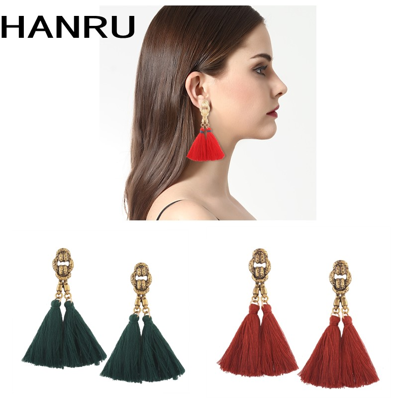 bohemian tassel earrings hanging drops for women statement earrings green vintage dangle earring jewelry
