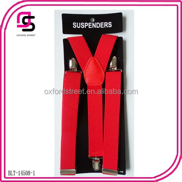Red Colour Suspenders For Christmas Holiday