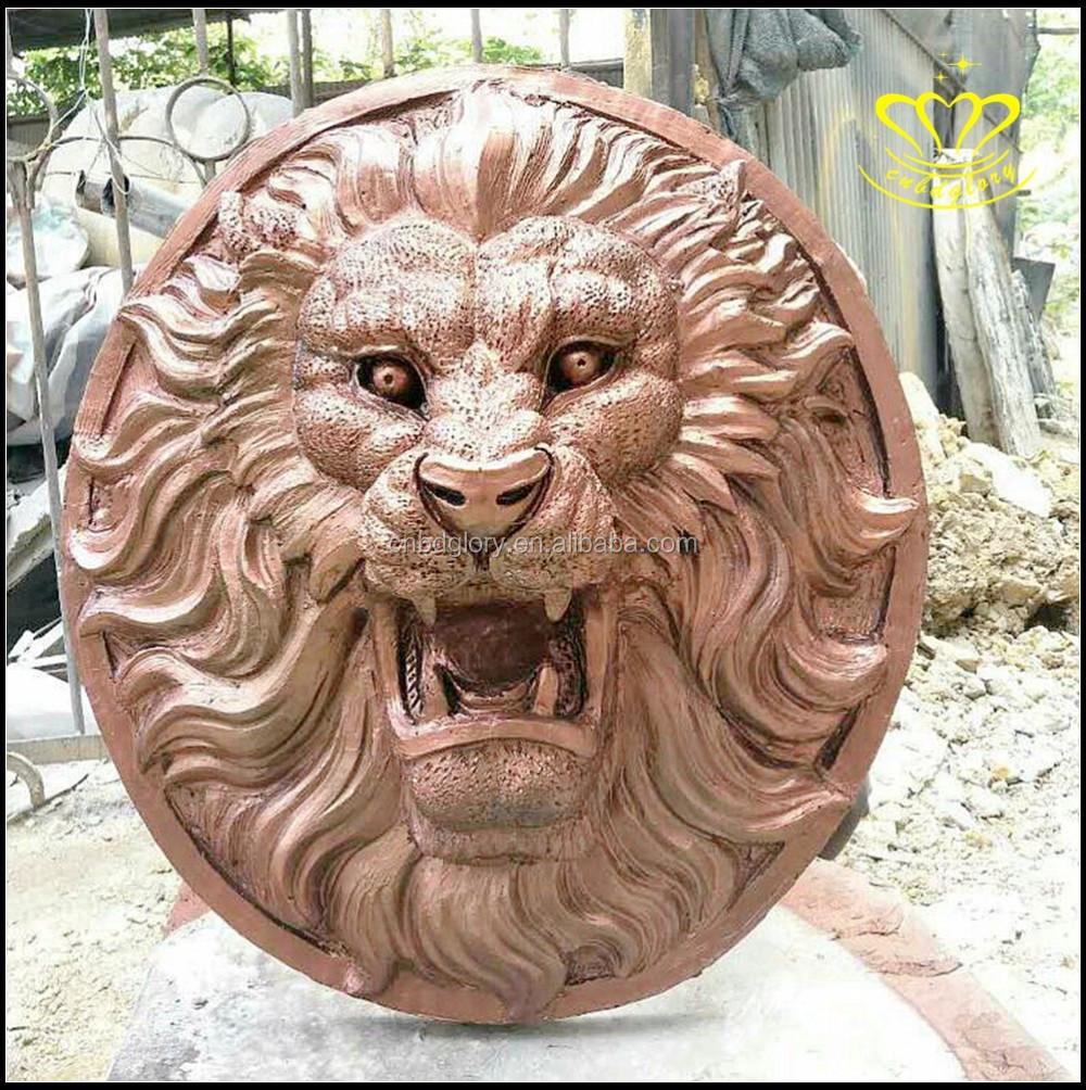 Lifelike Bronze Resin Animal Lion Head Wall Mount Decor
