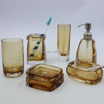 New Style 40 Star Hotel Luxury Decorative Multi Color Crystal Glass Unique Decorative Bathroom Accessories Sets