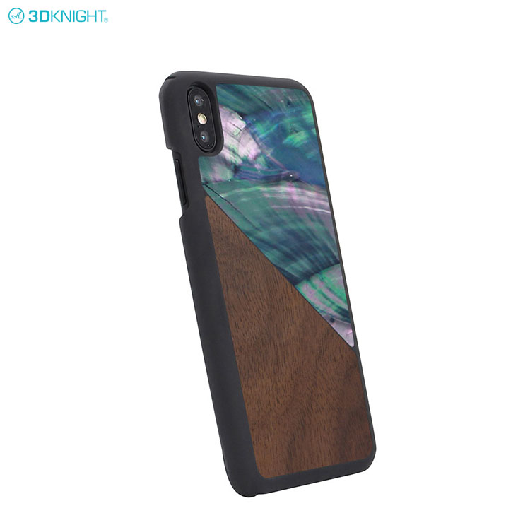 China Gold Supplier OEM Custom Wood Seashell Design Hard PC Mobile Phone Case