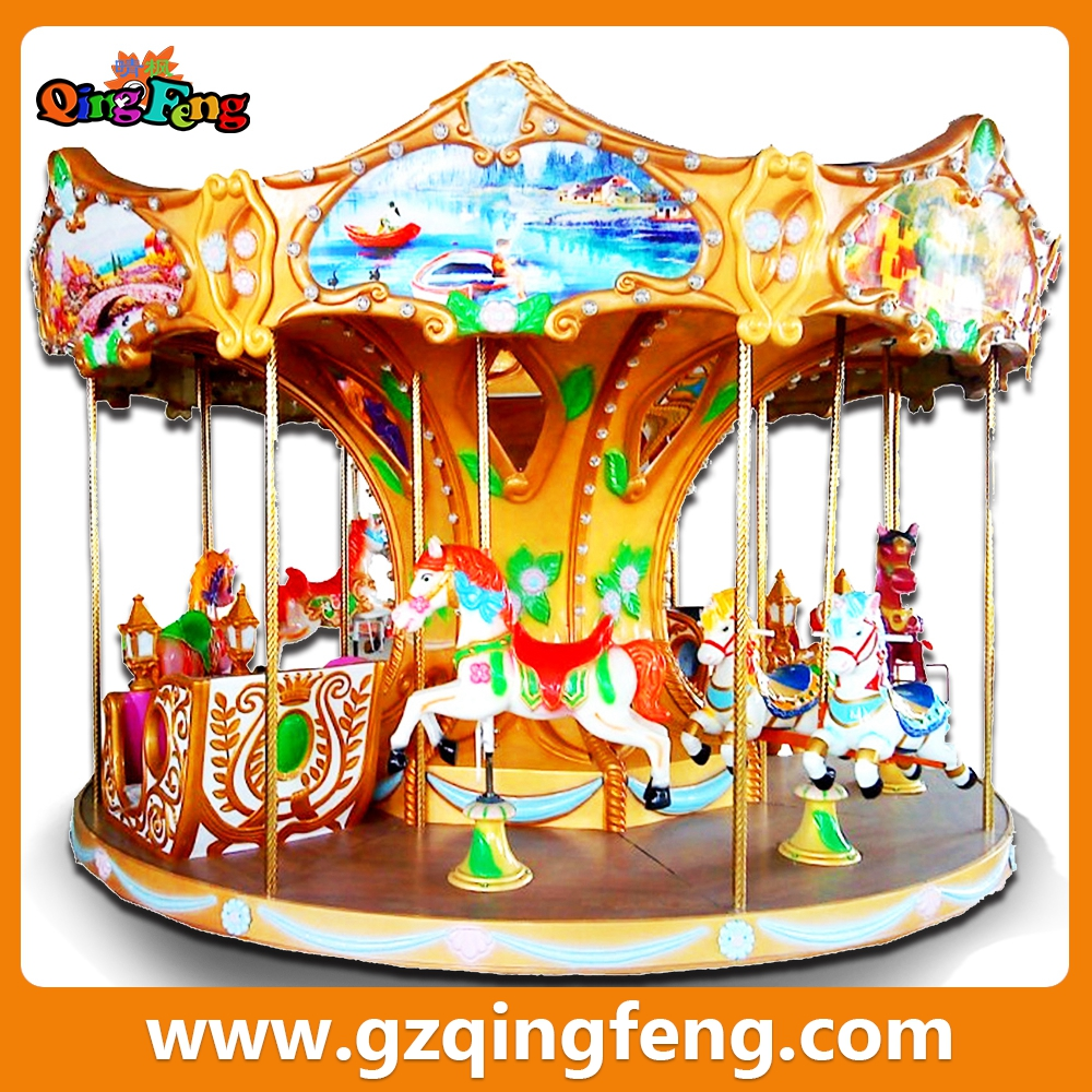 Qingfeng amusement park carousel horses children playing facilities used amusement rides