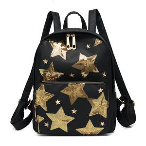 Creative Fashion Ladies Shiny Pentagram PU Leather Sports Backpack Bags