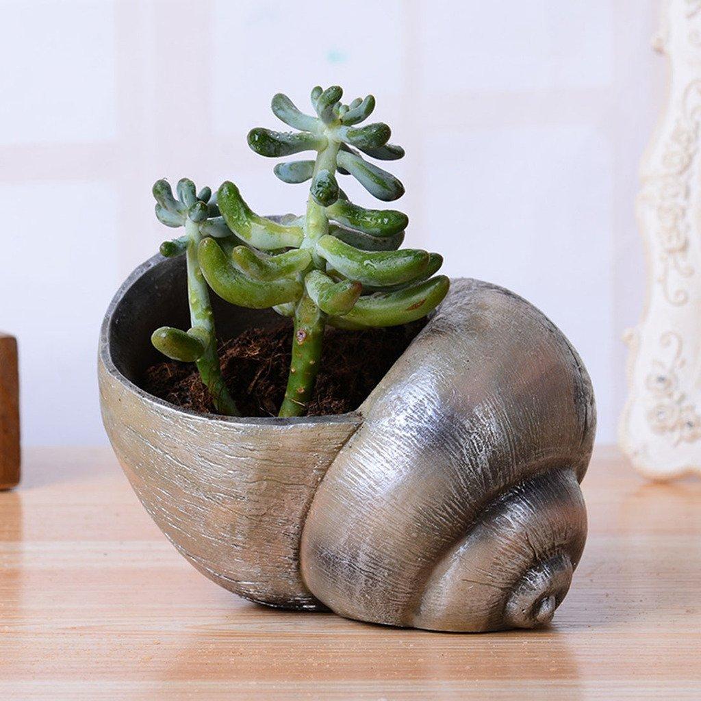 Get Quotations · Meiliy Succulent Plants Flower Pots Tiny Creative Flower  Pot Resin Flower Pots Indoor Decor Outdoor Decor
