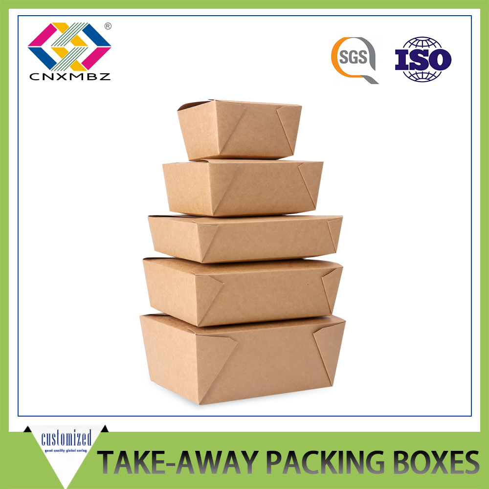 Manufacturer Wholesale Custom Printed Recycable brown take away chinese food packing box to go box