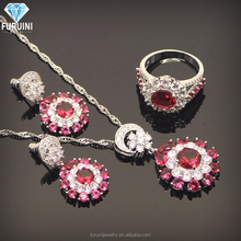 enthusiastic red cubic zircon pendant necklace and ring and pendant earring fashion jewelry set