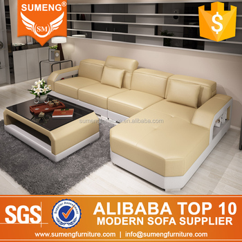 Luxury Living Room Furniture Yellow Leather Sofa Bed Philippines With Armrest