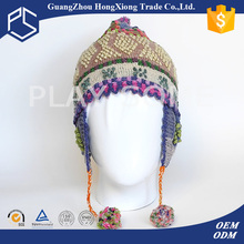 Guangzhou now promitional girls fancy free knit pattern for hat earflaps