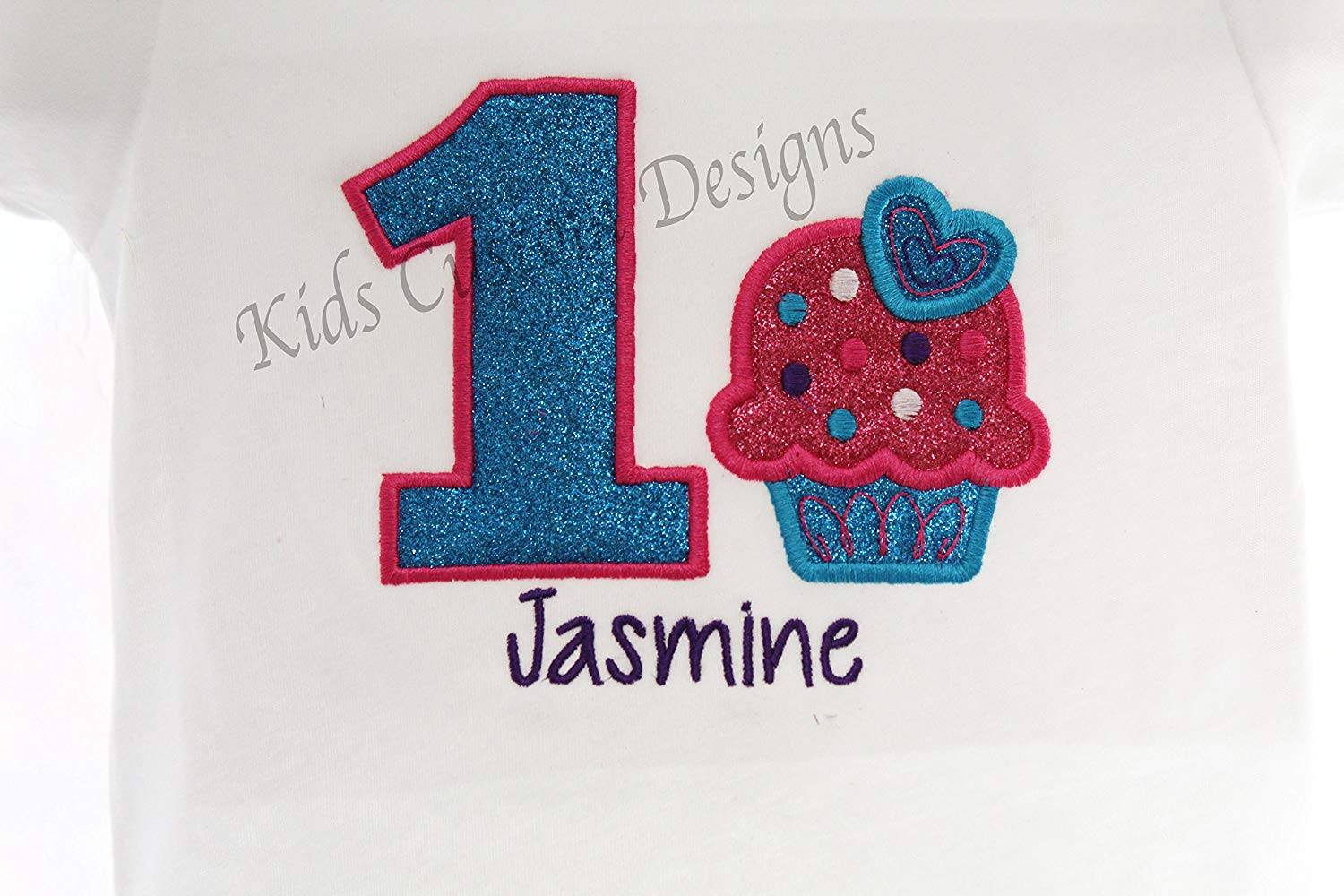 12b34881d28 Get Quotations · Birthday Cupcake Sweet Theme Shirt Glitter Embroidered  Personalized Purple Pink Turquoise Ages 1-5
