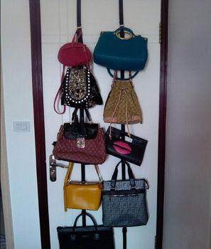 Save Space Adjustable Behind The Door Bag Rack Storage Clothing Hook Hat Purse  Hanger Rack Closet