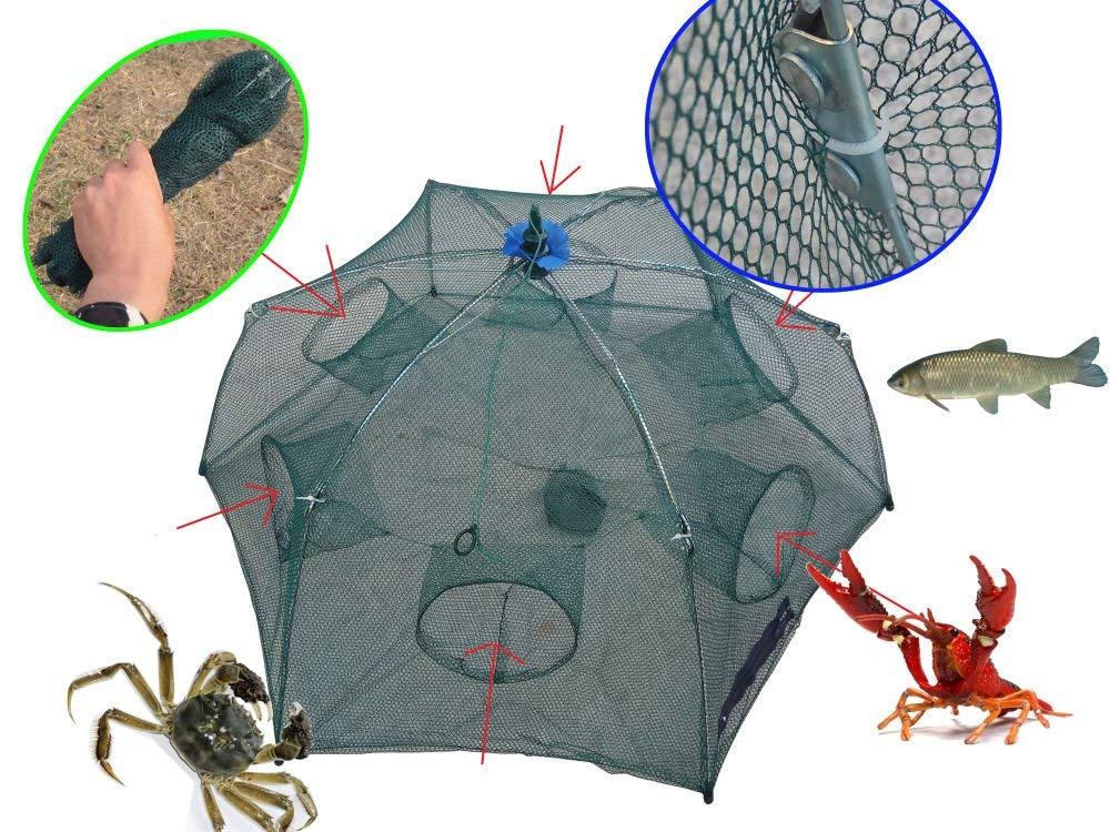 FidgetFidget Fishing Bait Foldable Crab Net Trap Cast Dip Cage Fish Minnow Crawfish Shrimp US