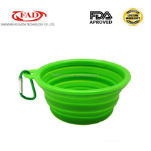 Hot selling food grade portable silicone travel dog bowls pet feeders