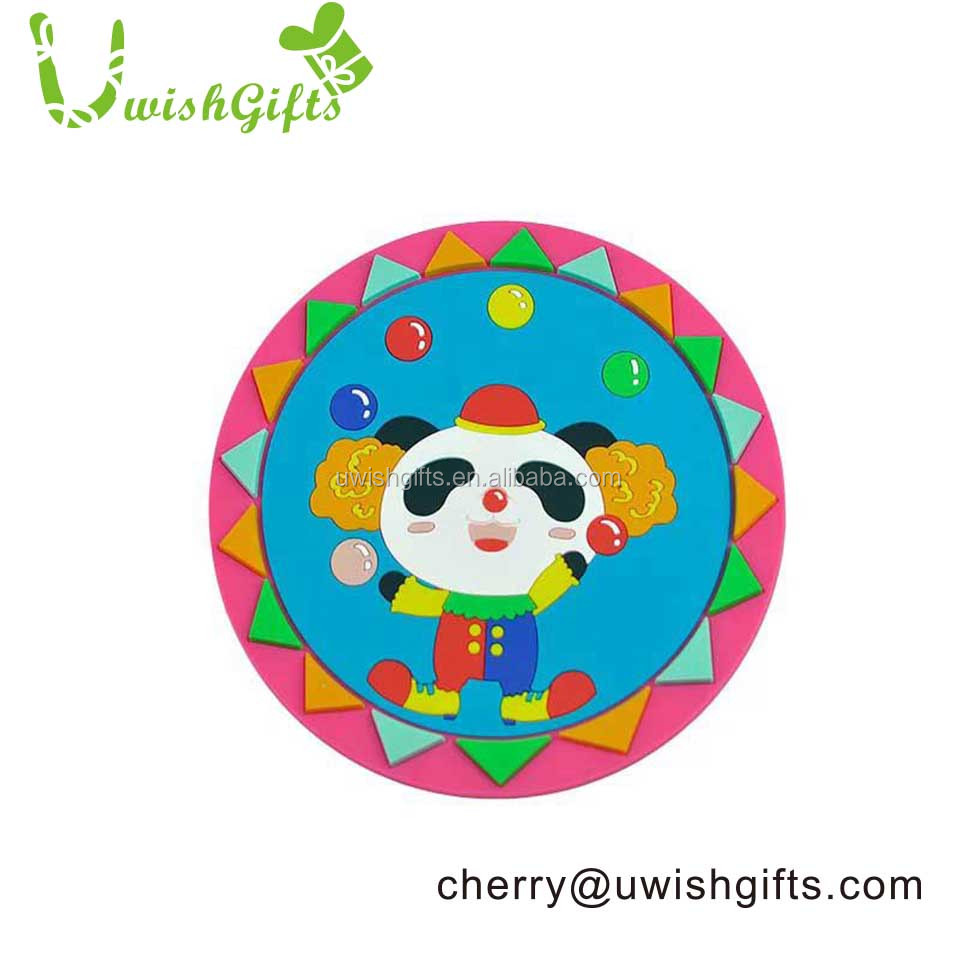 Cute china panda design plastic/rubber/soft pvc/ drink silicone coaster with custom logo