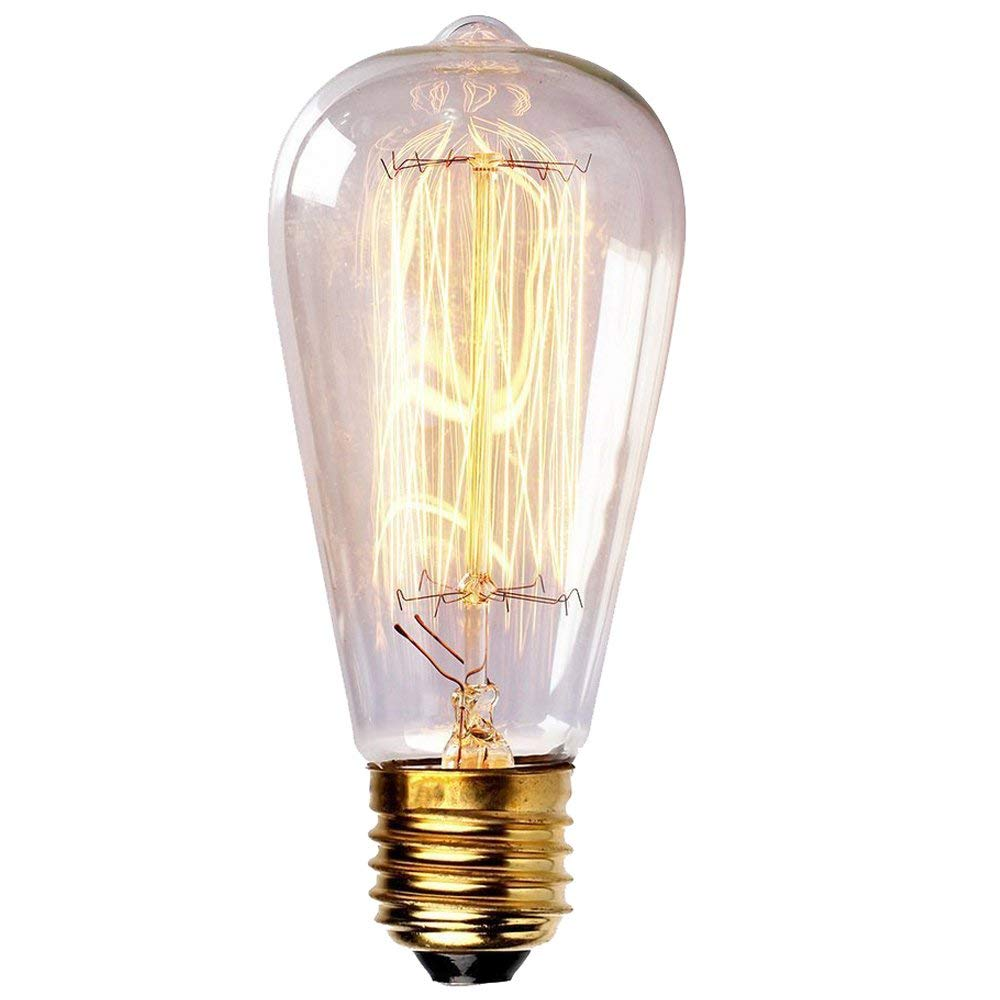 Vintage Edison Light Bulbs 60W Antique Filament Incandescent Bulbs E26 Base ST64 Type 120V Bulb for Home Lighting Fixtures Dim Warm Light 3000K,1PACK