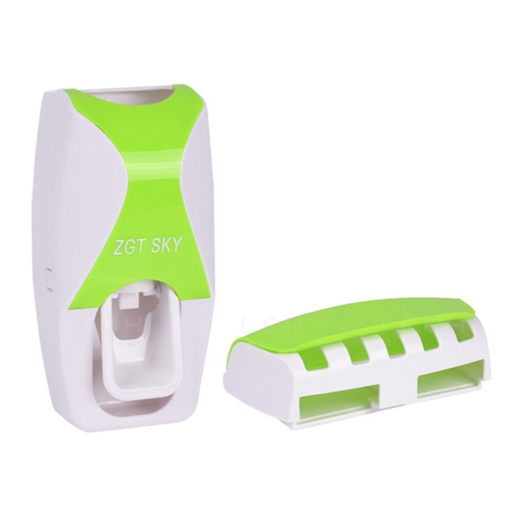 LC Home Wall Mounted Automatic Toothpaste Dispenser, Hands Free Toothpaste Squeezer Pumpr, Toothbrush Holder Organizer Set, Imported Bathroom Accessories Sets, Green & White