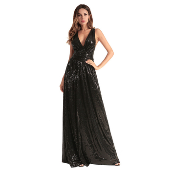 Formal Gown Sexy - Cheap Evening Dresses 2018 Black Sexy Deep V Neck Sequin Long Porn Prom  Dress