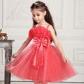 2016 summer fashion 3 12 years old baby girl princess dress sequined BOW BELT costume girls