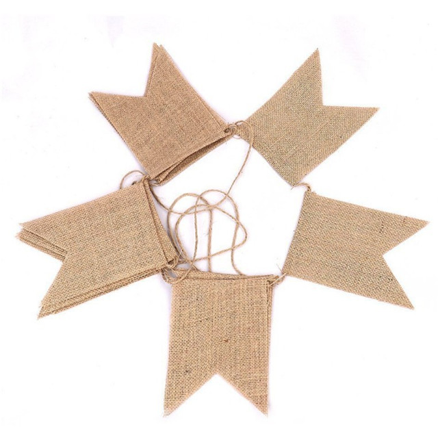 DIY Burlap Banner Hand Painted Decoration Jute Hessian Bunting Banner Wedding Party Photography Props Swallow-tailed Flags
