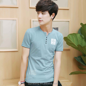 Teenager Spring Summer half sleeve fashion V neck new model men's clothes polo t-shirt