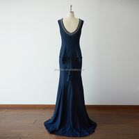 Mermaid Scoop Neck Navy Blue Chiffon V Back Long Wedding Bridesmaid Evening Prom Dress
