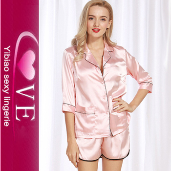 aaa1f32864 Comfortable Silk Nighty Sleepwear Fashion Sexy Satin Women Short Pyjama Set