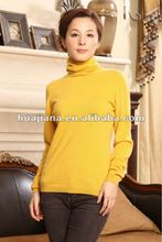 100% cashmere knitting women's sweater turtleneck