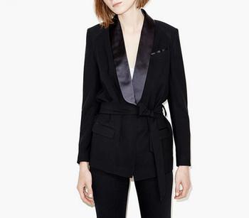 B12392A european women black with belts OL suits coats Women Slim Fit Suits 99011dda9e