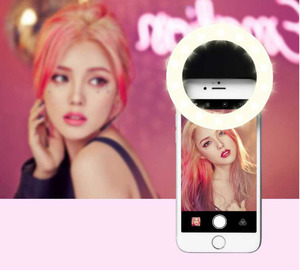 Customized LED Camera Mobile Phone Selfie Ring Light With Mirror