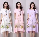 b7464ffe7 Summer Dress Plus Size Short Sleeve White Women Dress Casual Cotton Linen  Dress Lotus Printing O