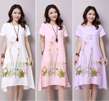 Summer Dress Plus Size Short Sleeve White Women Dress Casual Cotton Linen  Dress Lotus Printing O-neck Vestidos De Festa - Buy Cotton Linen  Dress,Short ...