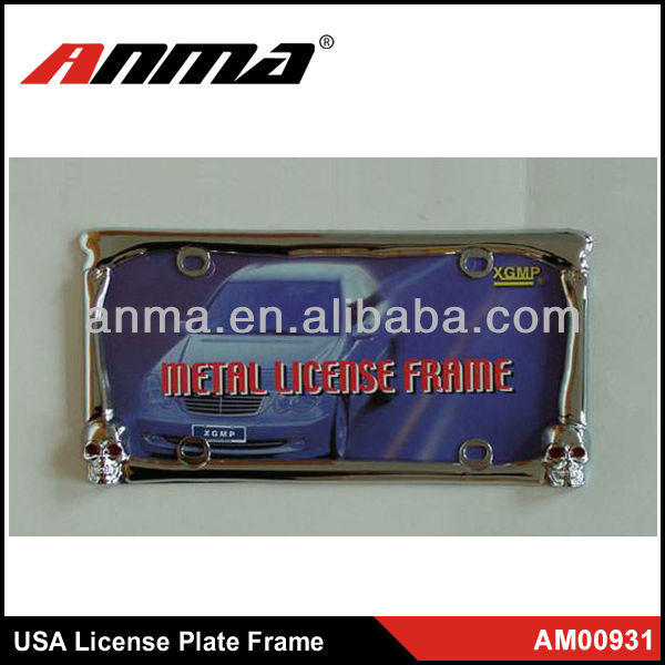 190g Zinc alloy personal license plate frame design