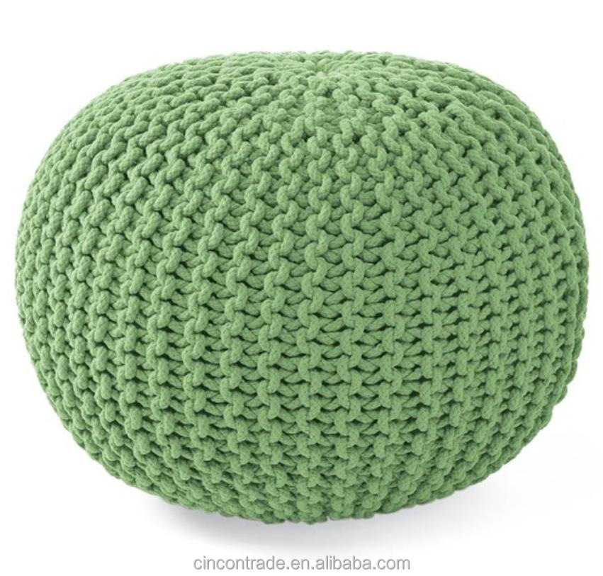 Decoration filled quality knitted footstool pouf