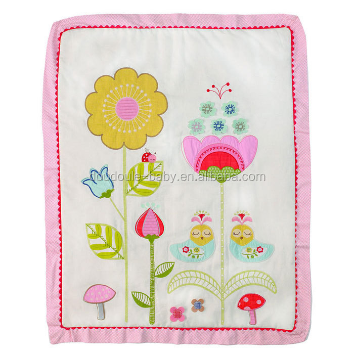 birds and flower design crib quilt with beautiful embroidery pattern