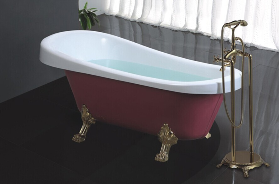Hs b506 fiberglass claw foot tub 4 feet bathtub small for Claw foot soaker tub