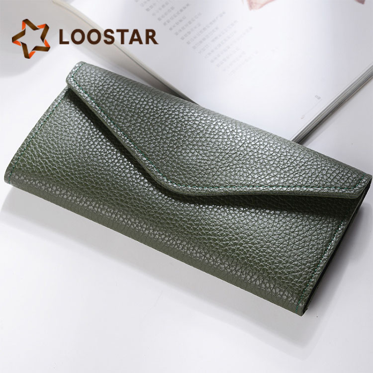 New south Korean super thin wallet simple lychee PU leather lady wallet