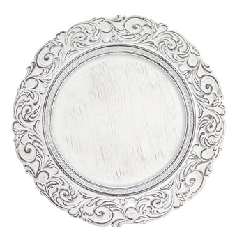 PZ01590 Wedding white acrylic vintage charger plates plastic elegant plate charger for decor